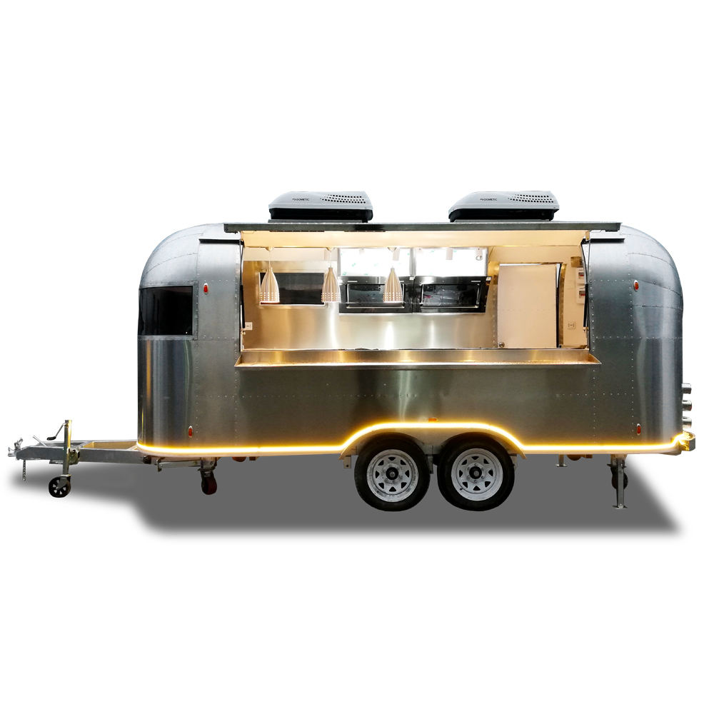 UKUNG new style mobile shiny/ wiredrawing stainless steel Airstream food truck, catering Airstream snack vending trailer