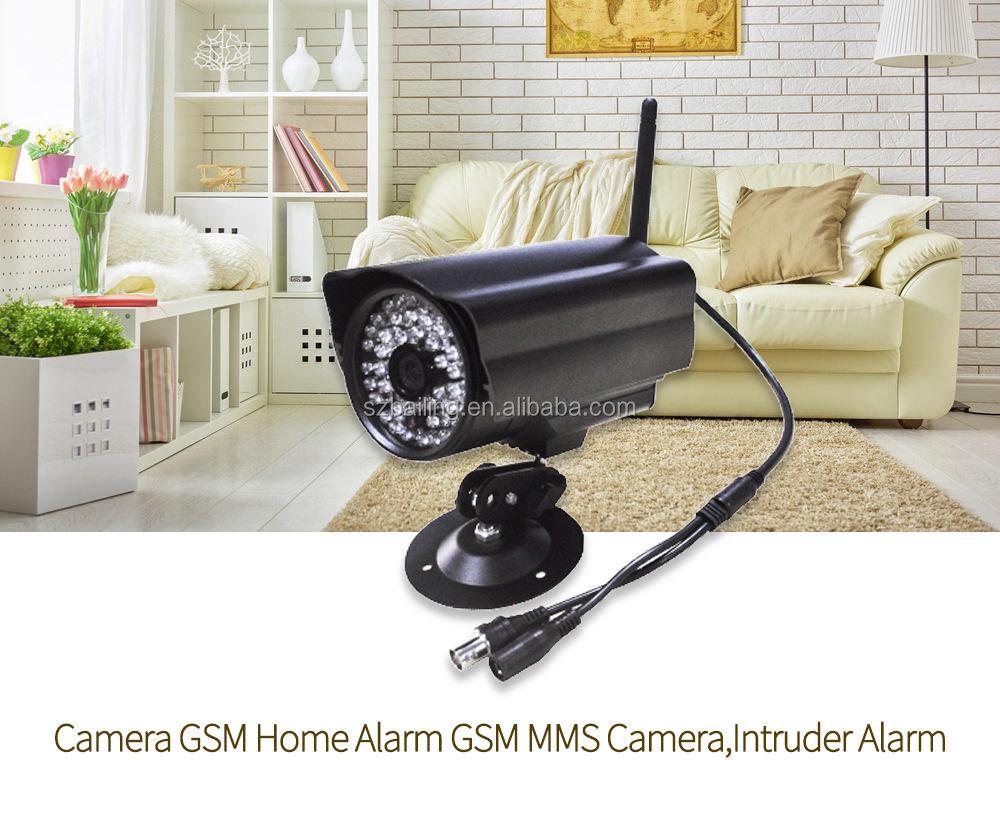 GSM safely smart home security camera system wireless GSM camera alarm system support MMS
