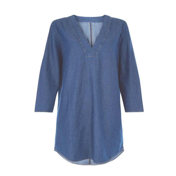 Neue Mode 3/4 Hülse Denim Tunika Kleid Frauen Lange Tunika Tops