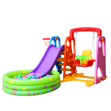 Kindergarten Children indoor combination plastic slide and swing set with 500 Pcs ball indoor playground equipment for kids