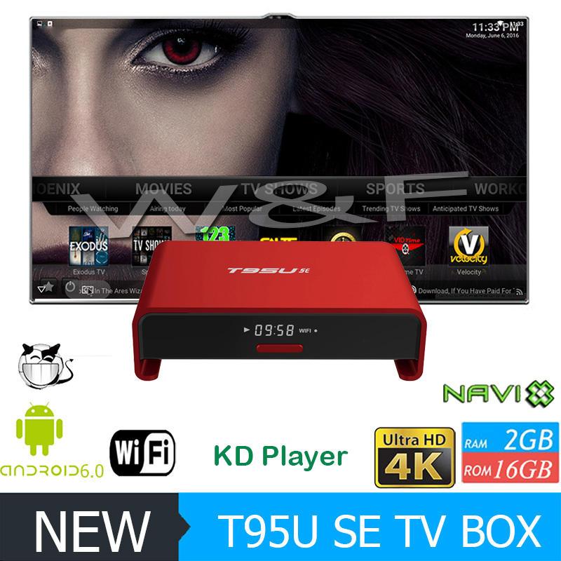 H.264 s905x t95u se fluxo ott quad core xbmc h.265 android 6.0 receptor de satélite android smart tv box 2 gb ram 16 gb rom