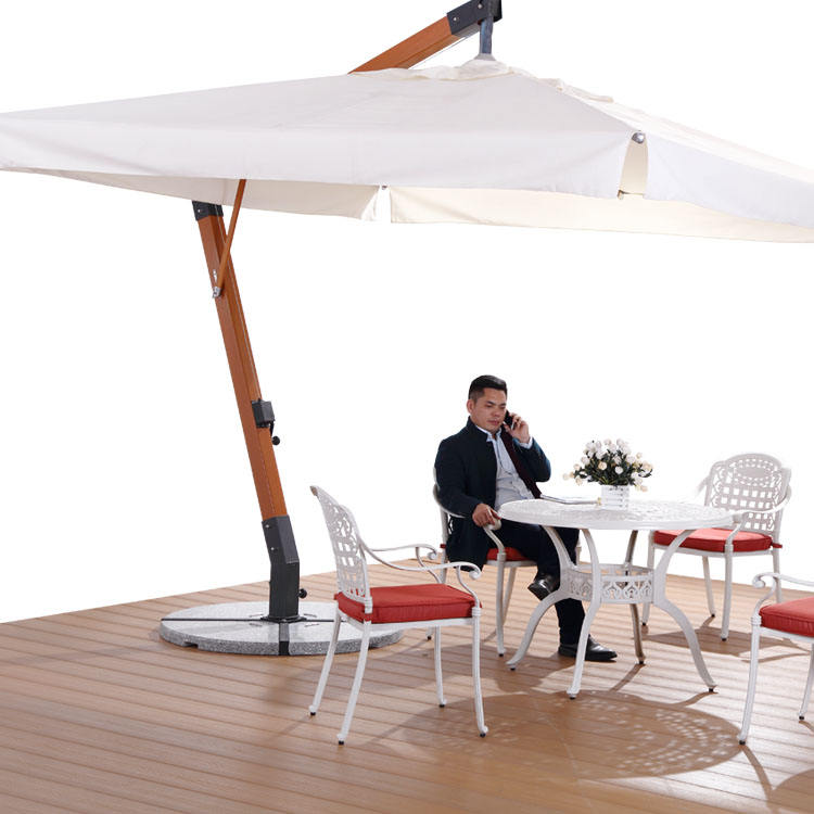 luxury Design Garden Big Square Wooden Hanging cantilever Umbrella