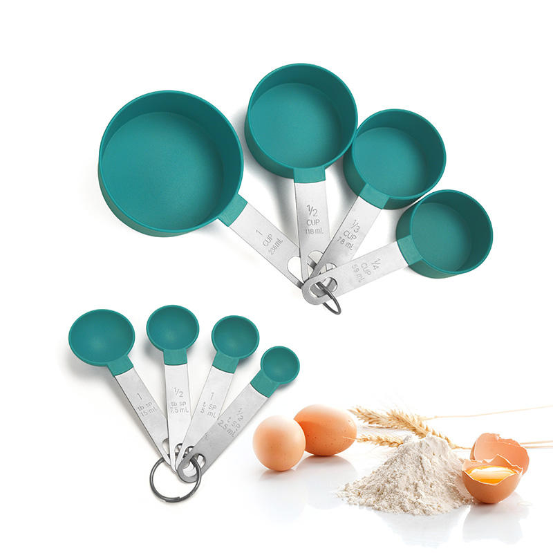 Wholesale Baking Tools Accessory 8-pcs Stainless Steel Handle Measuring Cup And Spoon Set