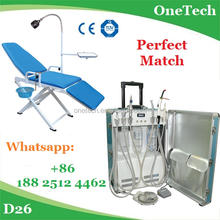Perfect match:foldable dental chair with portable dental suitcase unit with suction&spray system D26