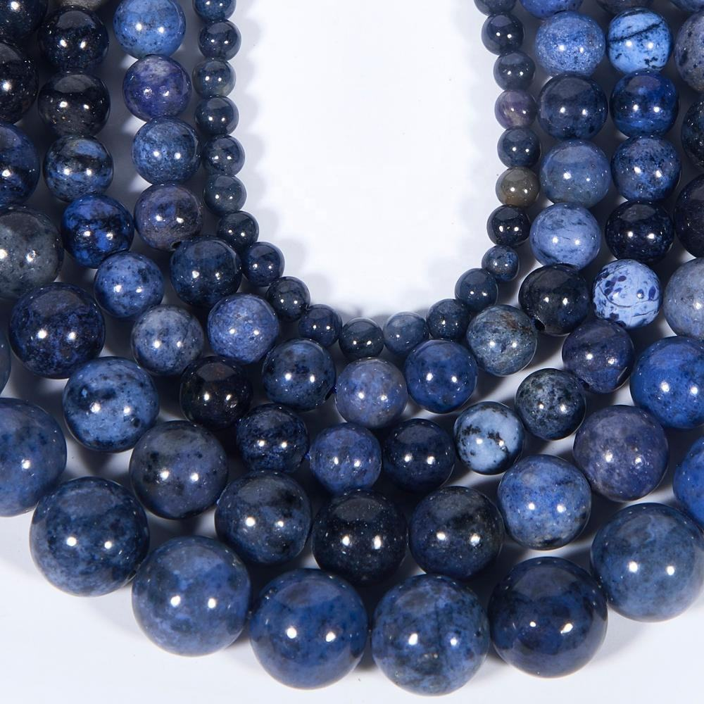 Natural Smooth Blue Dumortierite Gemstone Loose Beads For Jewelry Making DIY Handmade Crafts 4mm 6mm 8mm 10mm