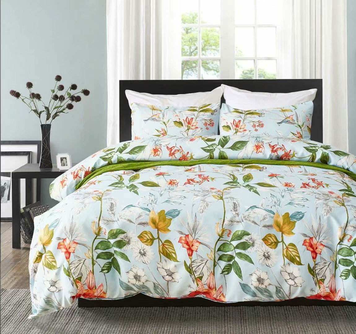 Luxury Comforter with pillows, Disperse Printed Queen/King Size Bed Set, 100% Polyester Microfiber Duvet Cover bedding.