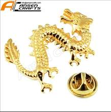 Custom Chinese Traditional dragon with Gold plating or Silver Plating Lapel Pin