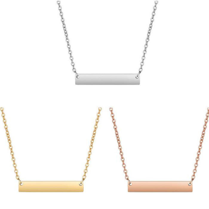 2019 New designs Stainless Steel Wholesale Customized Blank Bar Necklace