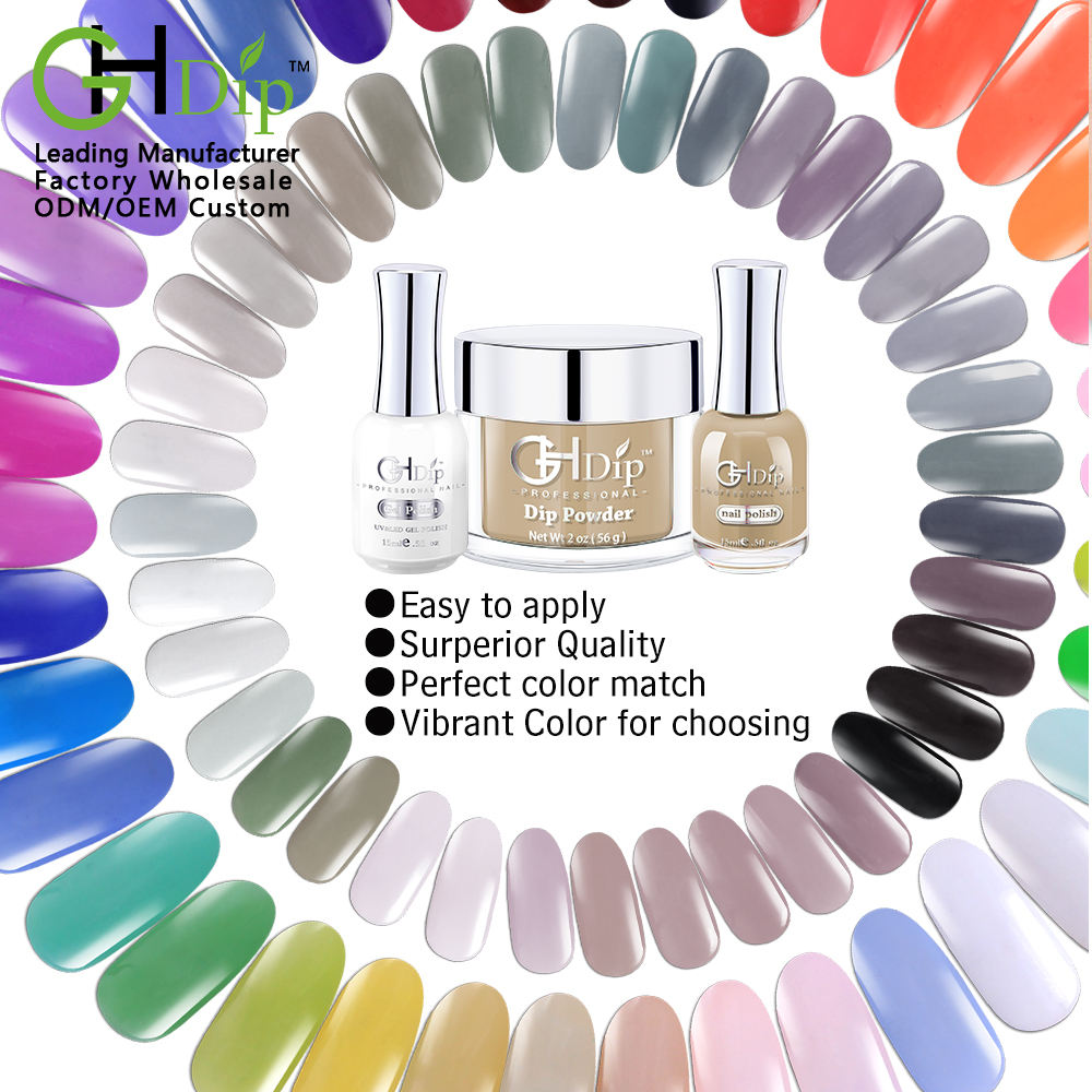Nude color Fast Drying Dip Powder 3 in 1 set match uv gel polish and nail lacquer