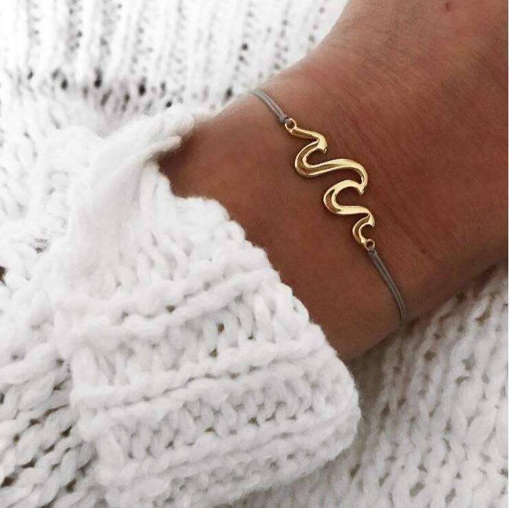 Stainless Steel Boho Minimalistic Summer Beach Jewelry Girls Silver Gold Wave Bracelet