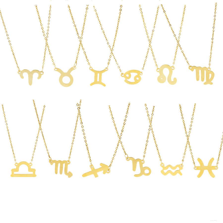 Gold stainless steel 12 zodiac necklace mirror polished euramerican titanium steel zodiac pendant necklace