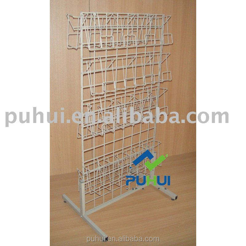 iron rod form frame multi shelf floor stand retail display metal wire frame display rack to hold DVD