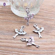 Beautiful cute alloy silver tone pink crystal dance charm