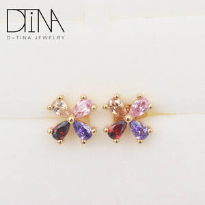 DTINA European and American popular 18k gold plated zircon clovers hanging lucky stud earrings