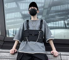 Customize Logo Hip Hop Streetwear Crossbody Bag Multi-Pocket Unisex Vest Bag With Chain Function Backpack Tactical Chest Bag