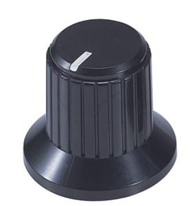 46147 Black Fluted Plastic Knobs with white indicator on top  light texture
