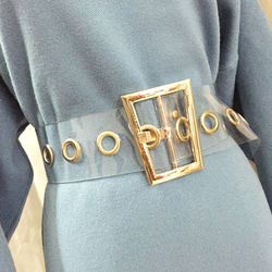 fashion trapezoid gold PVC Metal Buckle Wide Waist Belt for
