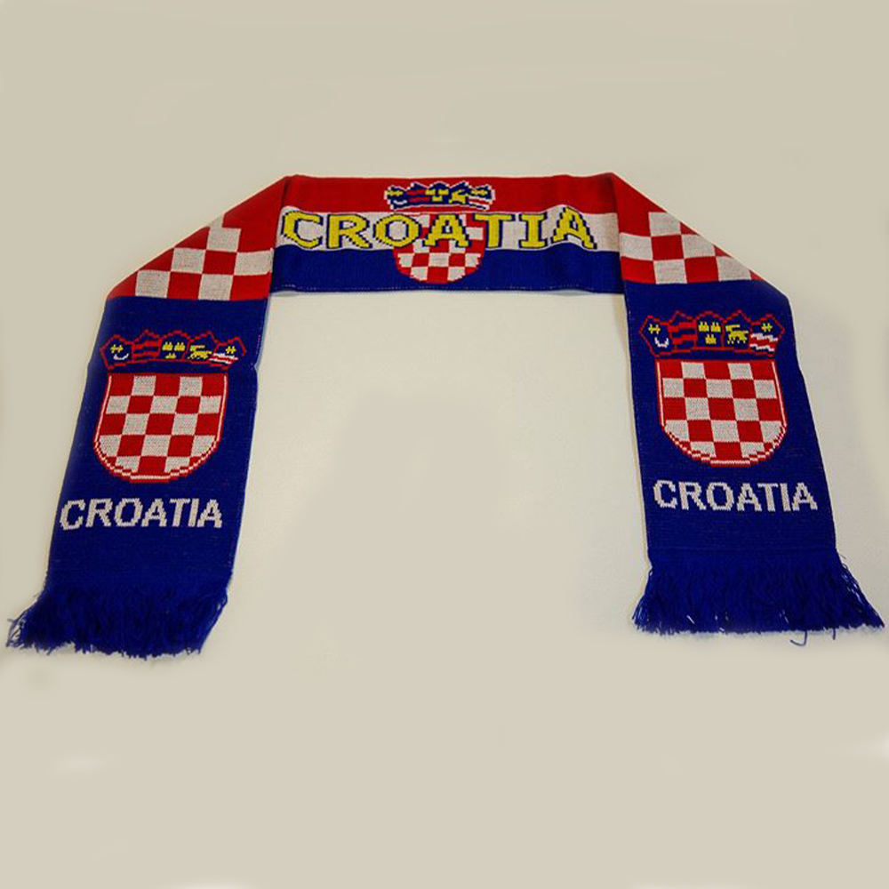New selling competitive price tartan pattern blue Croatia football club fans scarves soccer team cheering acrylic knitted scarf