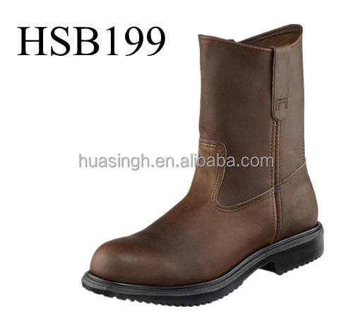 knee high brown color Goodyear welt safety rider boots safety rigger boots for mining