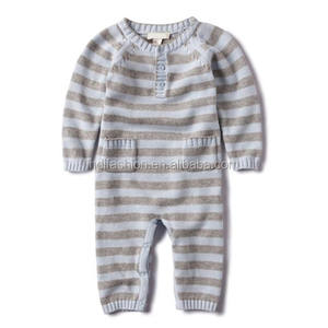 Stripes knitted organic cotton baby rompers wholesale baby clothes
