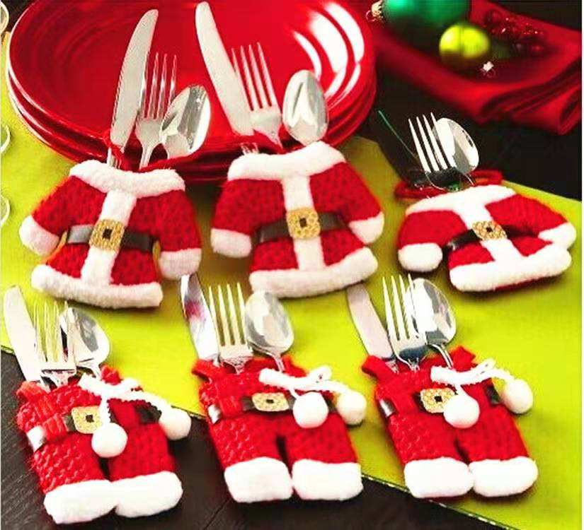 Christmas good quality table decoration, knife and fork cutlery set,small clothes and pants