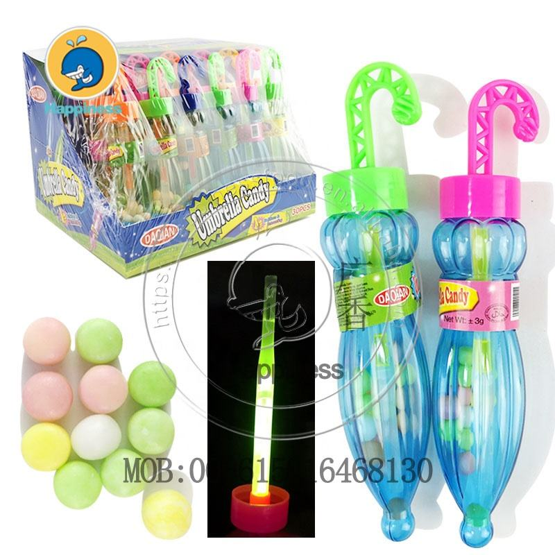 glow stick plastic umbrella toy with sweet press candy