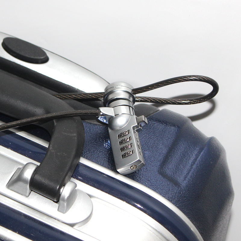 Notebook security cable luggage cases / suitcase anti-theft coded lock