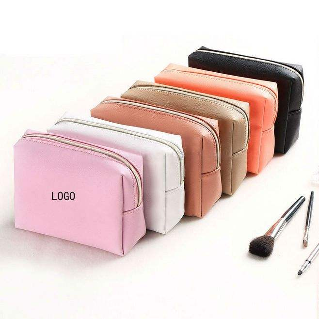 OEM Travel Toiletry Organizer Bag Custom Women's PU Leather Cosmetic Makeup Bag
