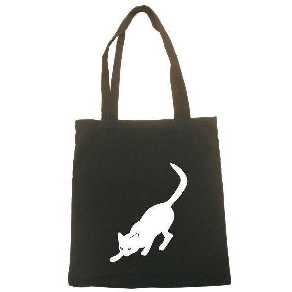 CAT Cotone Shopper Spalla del Tote Shopping bag naturale nero