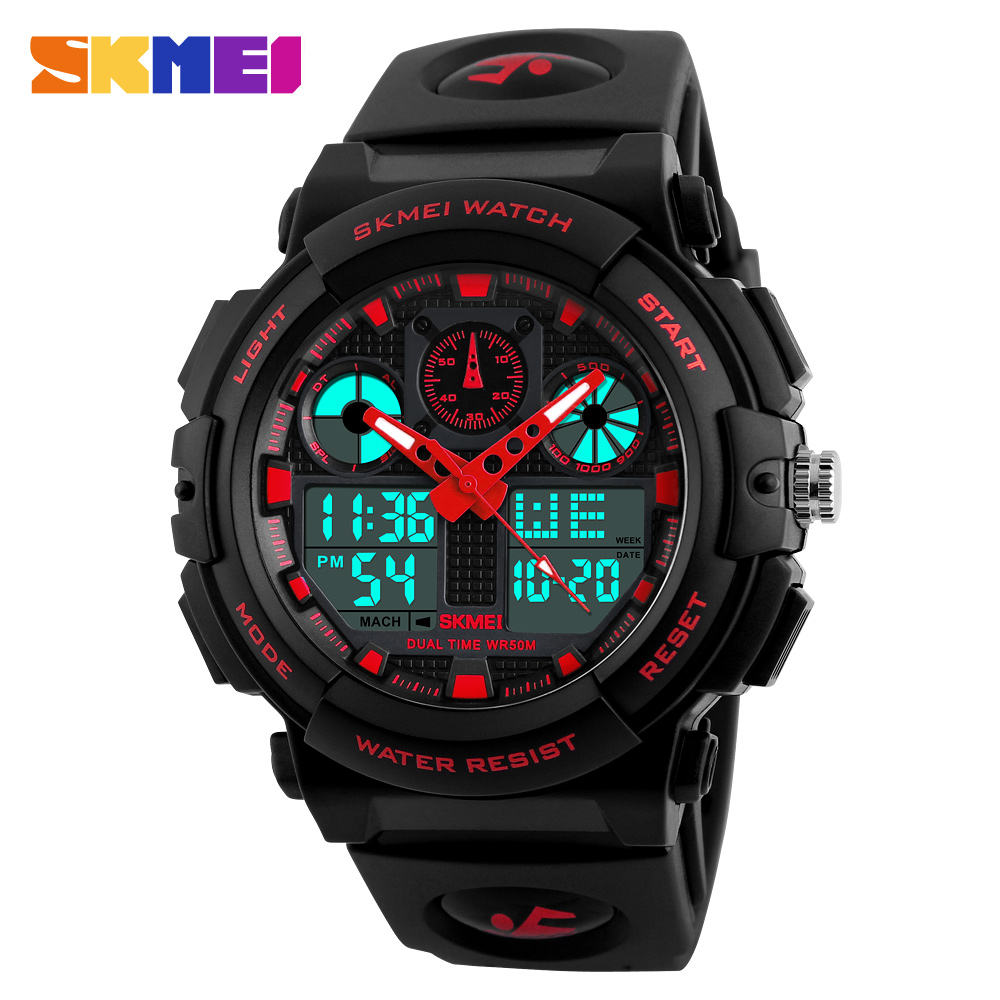 SKMEI 1270 Men's LED Digital + Quartz watch 방수 Chronograph Watches