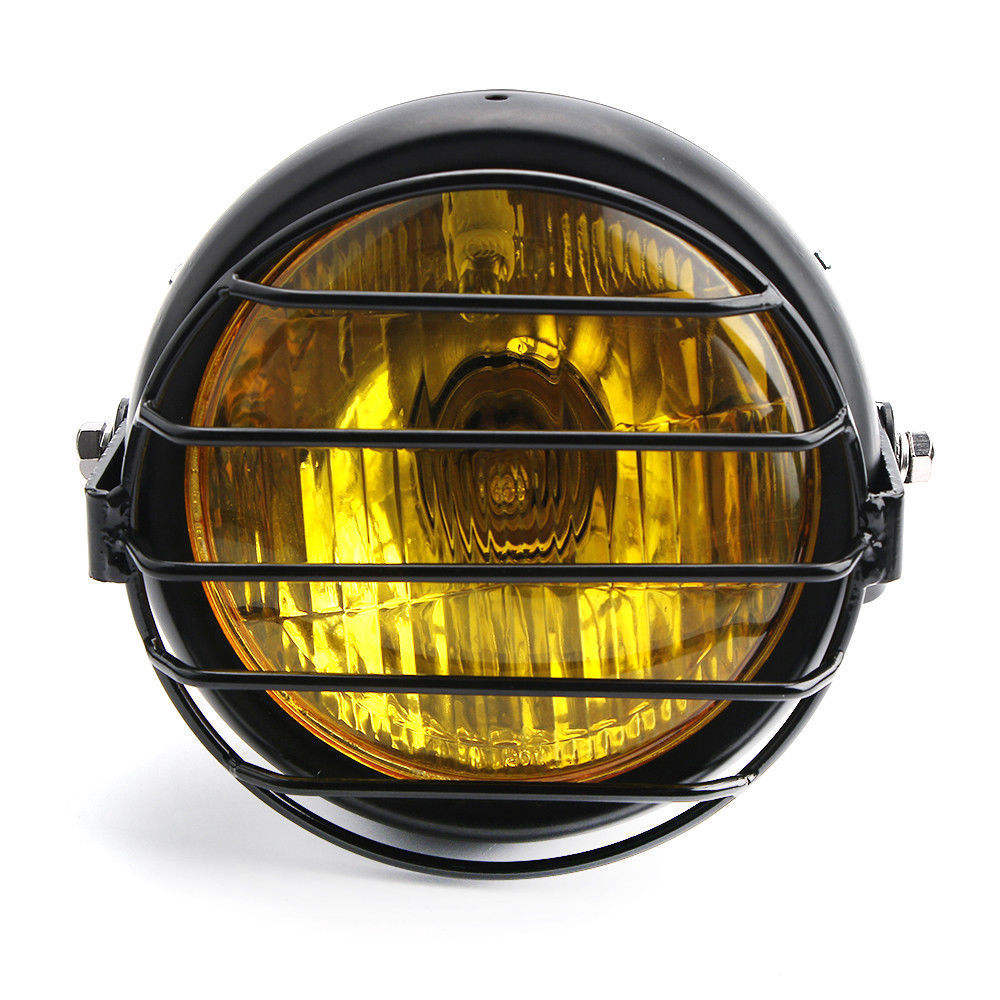 "6.5"" Retro Motorcycle LED Headlight+Grill Cover Set for Cafe Racer"