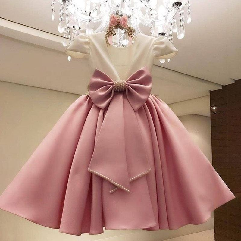 2020 Lovely Beading Big Bow Backless Ball Gowns Flower Girl Dresses