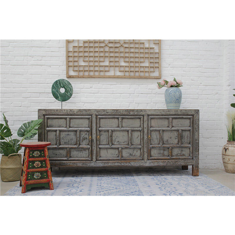 Chinese Antique living room shinny grey cabinet