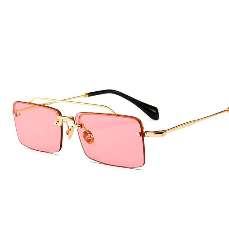 2018 New Products Small Rimless Square Sunglasses For Women's Fashion Metal Frame Brown Red Blue Pink Small Shades Unisex UV400