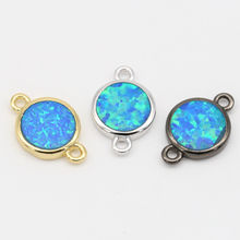CZ connectors Blue opal AB Round beads rondelle DIY Jewelry Connector Accessory
