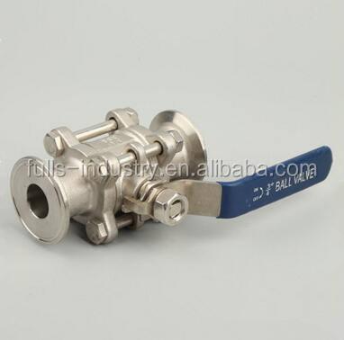 Personalizado apertado válvula de esfera sanitária em aço inox 3 pcs limpeza