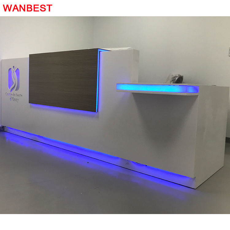 China Supplier Luminous Artificial Marble Lobby Gym Office Furniture Reception Area Desk Design