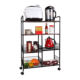 Movable 4 tire kitchen wood trolley cart