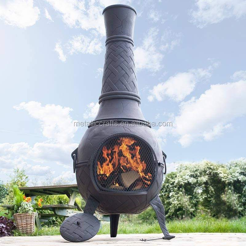Large Solid Cast Iron Outdoor Woodburning Chiminea with a Weave Pattern Patio Used Charcoal Heater Garden Chimenea