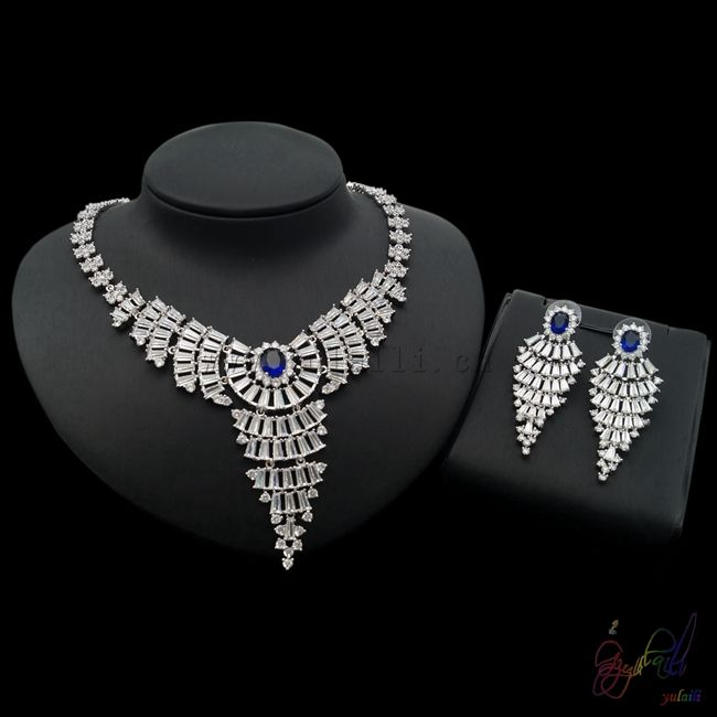 zircon jewelry set popular France jewellery set shinning bridge jewelry sets