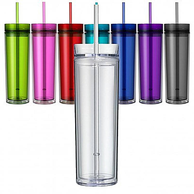 16oz clear double wall acrylic skinny tumbler with lid and straw Insulated Reusable plastic skinny Tumbler cup