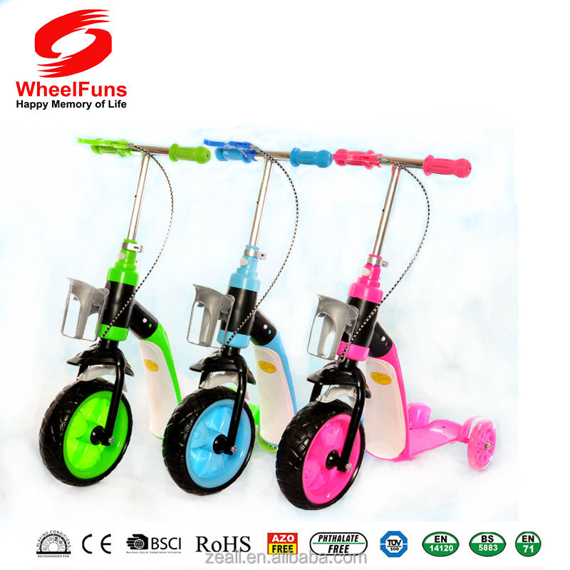 Economical Cheap Kids Scooter Dual Functional Baby Skate Scooter Three Wheel Kick Scooter