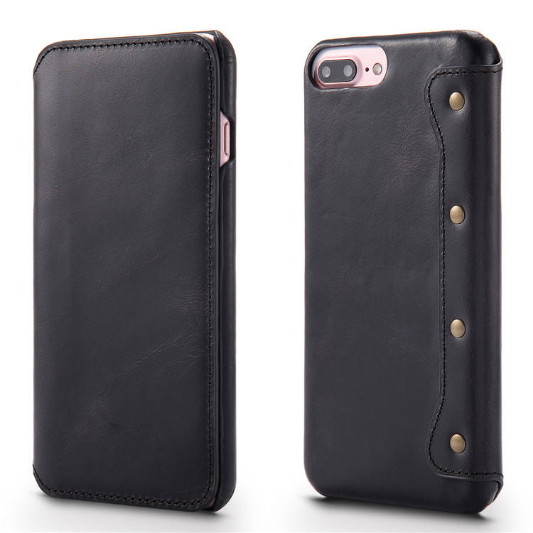 Laudtec Genuine Leather Wallet Folio Case with Stand and Credit Card for iPhone 6 7 8 Plus