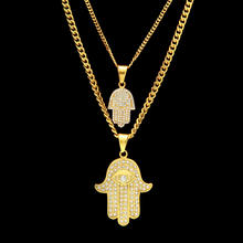 Iced Out Jewish Star God Hand Amulet Pendants Necklaces Stainless Steel 2 pc Fatima Hamsa Necklaces Hip Hop Jewelry necklace set