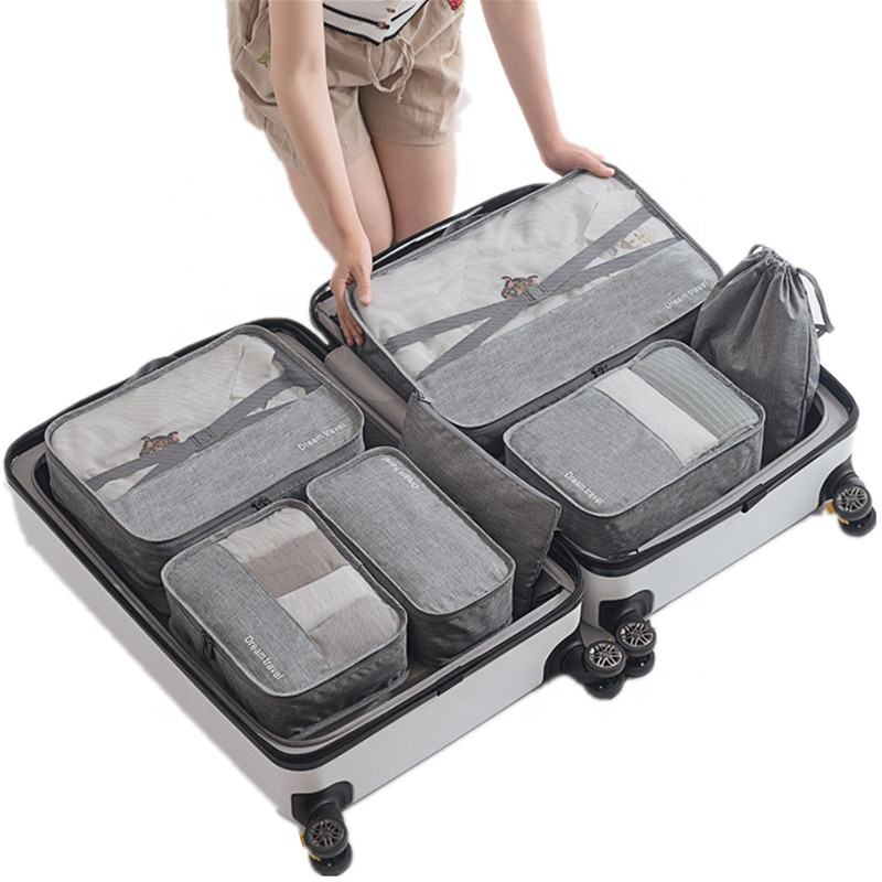 7 set packing cubes 7 piece travel luggage organizer