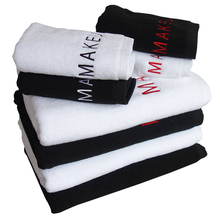 U-HomeTalk UT-TJ031 Free Shipping Custom Woven Beauty Spa Towel Hair 100% Cotton Black Salon Towel With Embroidery Logo