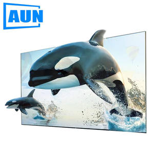 AUN 100 inches Projector Screen ALR Anti-light Screen 100% Brightness Increase 16:9 Foldable Portable