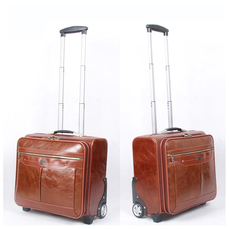 2019 hot selling PU leather business 3pcs travel suitcase trolley luggage