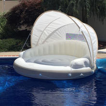 EITS Inflatable water Floating Island with Canopy Mat for Adults and Children