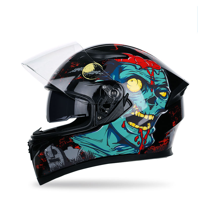 Full face hoge kwaliteit anti-fog professionele motorfiets/motor/scooter helm met clown/cartoon patronen